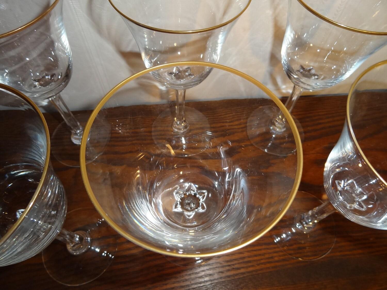 Vintage Lenox Crystal Intrigue Pattern Gold Rim Water Goblet