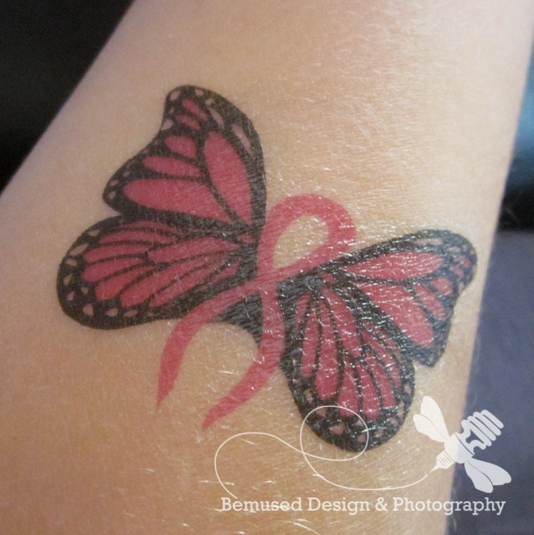 Tattoo Designs Breast: Temporary Tattoo Design 5 Breast Cancer Butterflies