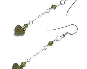 8mm heart earrings on chain Labradorite