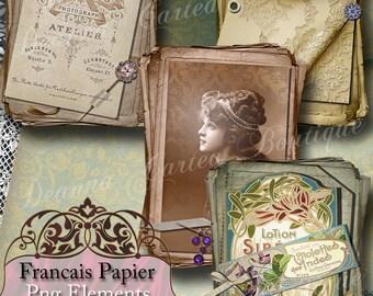 """Digital Scrapbooking Vintage PNG Elements, """"Francais Papier Collection"""""""