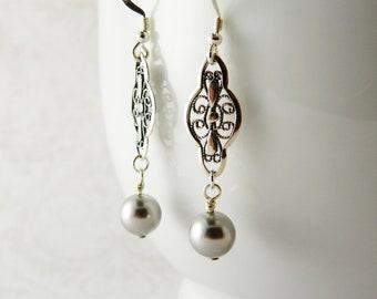 Light Gray Swarovski Pearl Earrings / Sterling Silver  / Bridal /  Wedding