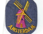 Amsterdam Netherlands Windmill Pink and Yellow Retro Rectangle 1970's Vintage Sewing Patch Applique