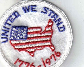 United We Stand  1776 - 1976 Retro America Shaped Flag Vintage Patch Applique 1970s