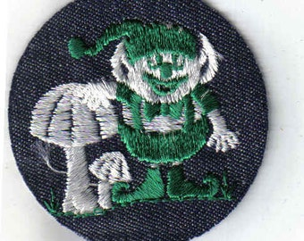Leprechaun Mushroom Rare Collectible Vintage Sewing Patch Applique