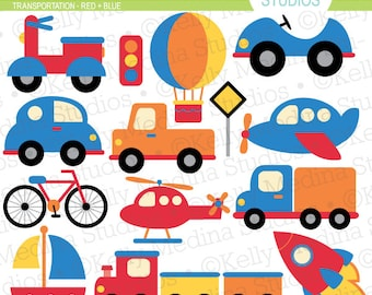 Transportation Red and Blue - Clip Art Set Digital Elements for Cards, Stationery and Paper Crafts and Products