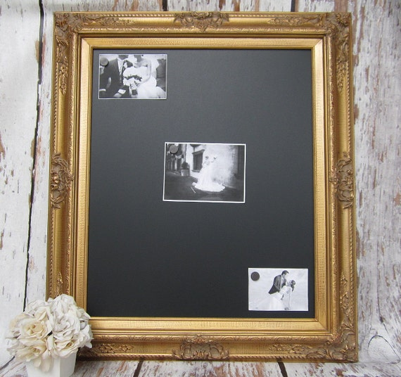 """Gold WOOD FRAMED CHALKBOARD Signs Magnetic Table Top 31""""x27""""- Attached Stand - Blackboard Rustic Wedding Dad Office Organizer"""