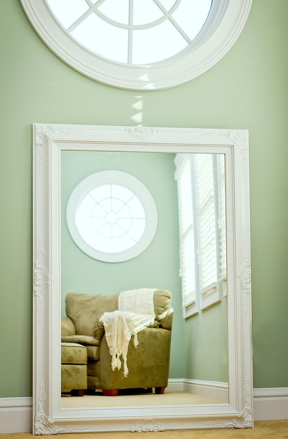 Large BATHROOM MIRROR MANTEL Mirror 44x32 Dining Room White Framed Vanity Shabby Chic