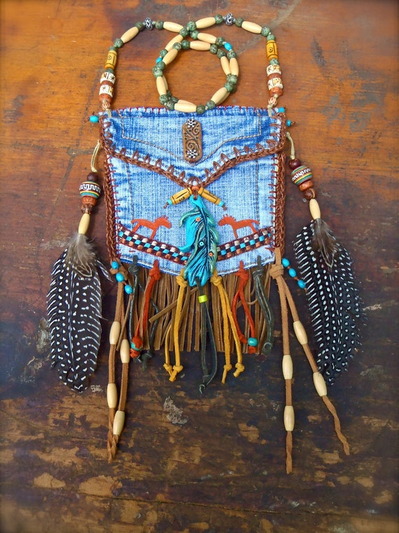 custom make DENIM medicine bag tribal american INDIAN medicine bag with FEATHER charm turquoise suede leather beaded necklace
