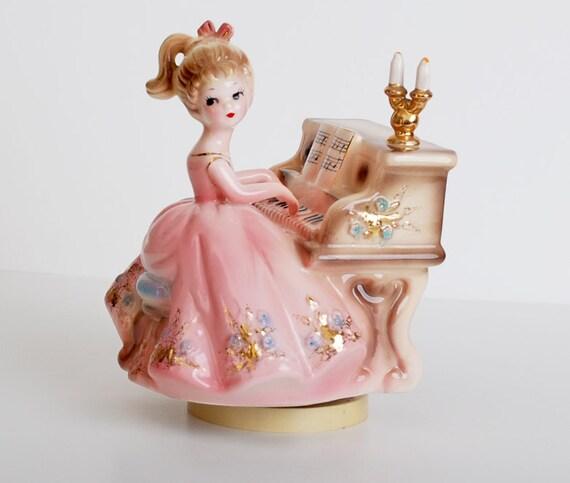Vintage 50s Josef Originals Girl Figurine Piano Revolving