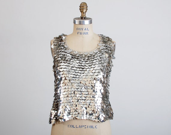 Vintage MOD 60s Silver & Gray Knit Sequin Blouse