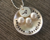 Mothers Nest - personalized hand stamped cupped aluminum or copper disc, silver bird disc, your choice of 1 - 4 Pearl dangles with names