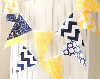 Birthday Party Banner, Bunting, Cotton Fabric Pennants, Navy, Yellow Chevron, Polka Dot, Wedding Garland, Baby Nursery Decor, Birthday Decor
