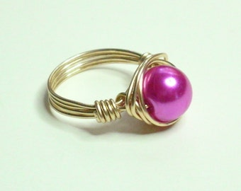 Fuschia and Gold Wire Wrapped Ring Sizes 1-14