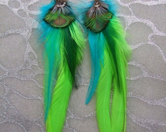Feather Earrings - Long Lime Green Saddle Feathers with Turquoise & Gold Peacock and Rooster Feathers
