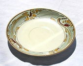 Vintage ivory saucer with goldtones and grey hand painted made in Japan design seito studio