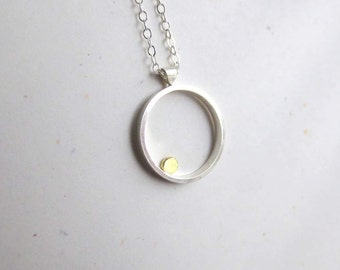 Orbit Necklace in Sterling Silver and 14k Gold