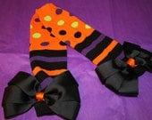 Halloween Stripes and Polka Dots Bow Embellished Leg Warmers