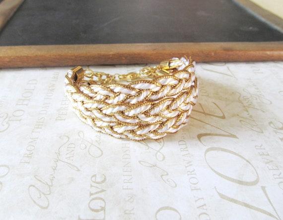 SAIL AWAY triple natuical braided bracelet cuff gold white
