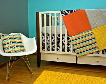 Sheet/ Skirt/ Toddler Quilt/ Pillow (Modern Baby Bedding Crib Set)