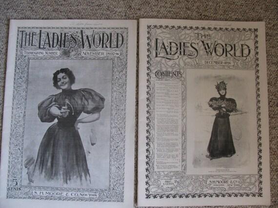 Lot of 7 Victorian Ladies Magazines - 1896 - 1901