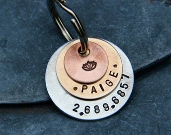 Custom Pet ID Tag - Triple Layered with Stamp on Top - Mixed Metal in Bronze, Aluminum and Copper