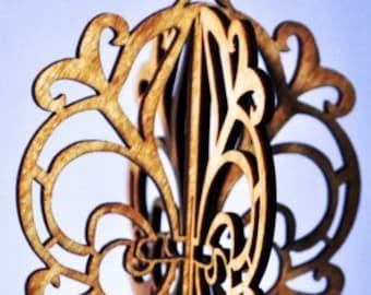 3-D Fleur-de-Lis Wood Ornament
