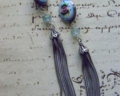 ROSES and TASSELS - Wonderful Antique Russian Enamel Earrings with Aquamarine and Tassels