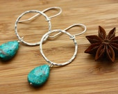 Sterling silver hoops with African Turquoise pendants