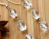 15% off: Tri-crystal earrings of faceted quartz and sterling silver