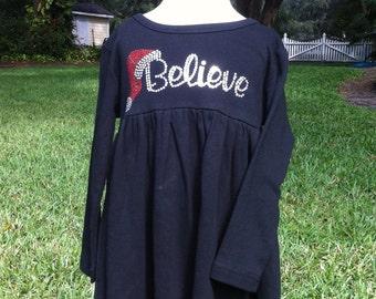 Girls Holiday Christmas Dress with Believe Rhinestone Design