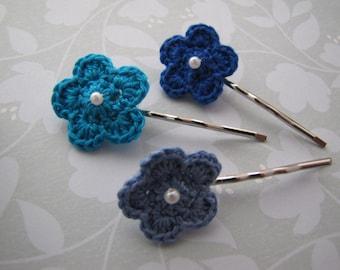 Blue Water . bobby pins . crochet flower . girls hair accessory