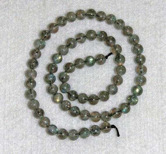 Labradorite Bead, Grade A, Smooth Labradorite, Smooth Bead, Natural Stone, Gemstone, Bead Strand, No2 5.5-6.5mm