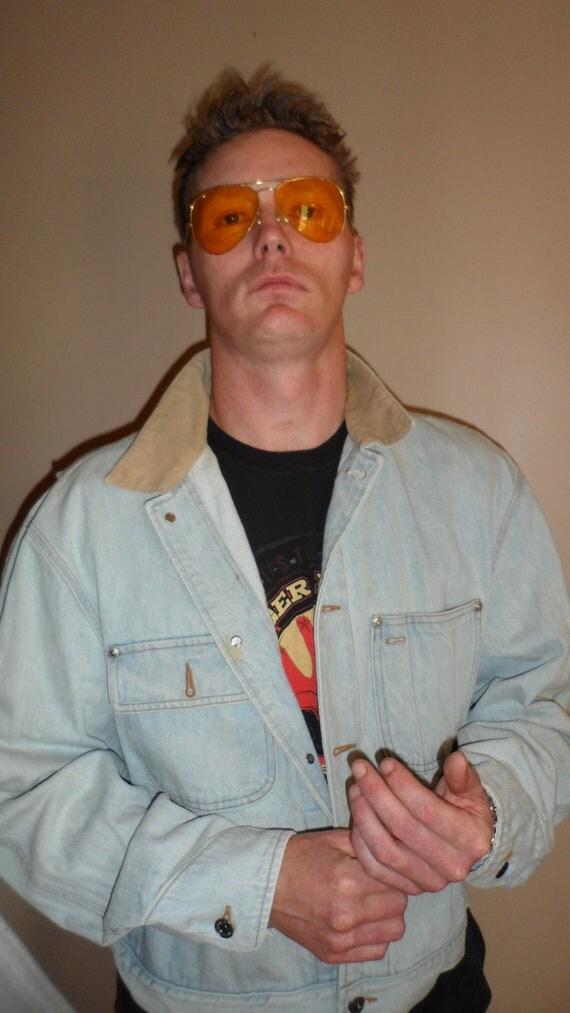 80s ralph lauren polo  jean jacket couduroy collar unique design light color  mens  or unisex size large or some mediums