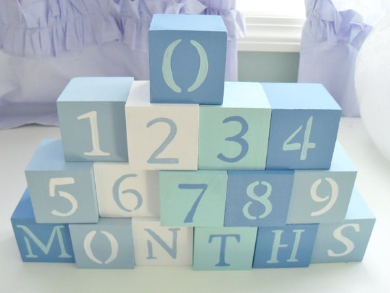 Baby Blocks- Photo Prop for Monthly Baby Pictures- Set of 16 Blocks- Multicolor BLUES