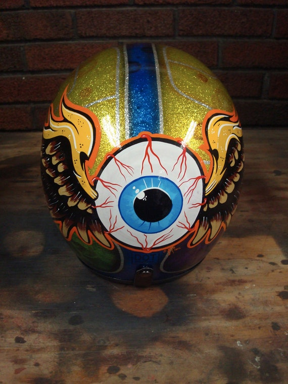 extra large candy and flaked flyin eyeball helmet-REDUCED
