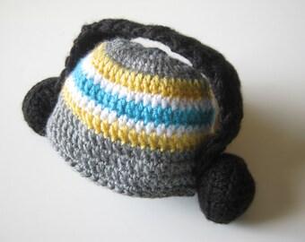 Crochet Newborn Jammin Headphones Hat Made To Order size 0 to 3 months