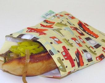 SALE! Reusable Sandwich Bag -Trains, Cars, Plane