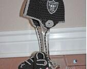 Football Helmet Crochet Beanie and Booties Set - Newborn through 24 Month Sizes Available