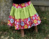 Three Tier Twirl Skirt - Bright Poesy and Lime Last One Size 6/7