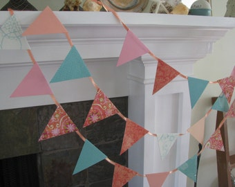Peach and Aqua Banner  Garland /Wedding/ Shower/  Party  9 feet