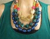 Pantone Fall 2012 Colors Statement Necklace, Huge Chunky Colorful Multistrand, Bright, Bold, Multicolor, Falling for Pantone
