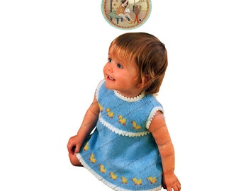 Just Ducky Vintage Digital Pattern to Knit Baby Girl Sun Dress - PDF Instant Download - PrettyPatternsPlease