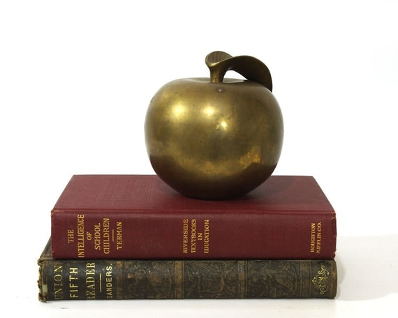 Vintage Brass Apple, Paperweight, Back to School, Desk Decor
