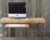 """Small wood desk with mid century hairpin legs, 32"""" x 11.5"""" w x 29.5"""" tall, 1.65"""" top with drawer included, no keyboard tray"""
