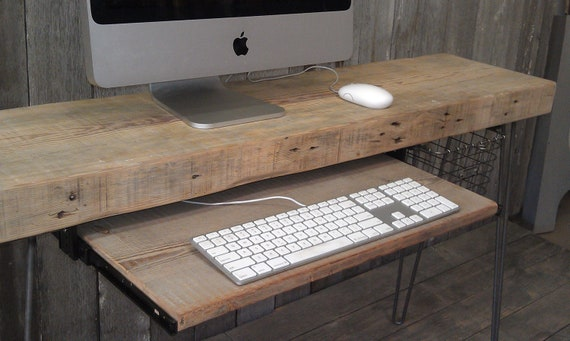 Reclaimed Wood Desk With Mid Century Hairpin Legs