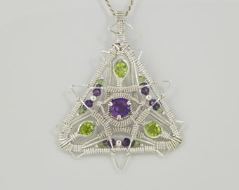 Faceted Amethyst and Peridot Sterling Argentium Silver Wire Wrap Pendant