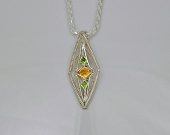 Citrine and Peridot Diamond's Eye Argentium Sterling Silver Wire Wrap Pendant