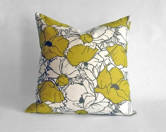 Designer Pillow Cover in Citrine Cottage Blossom - 18x18 or 20x20 inch (Citrine Yellow, Grey, Off-White/Cream)