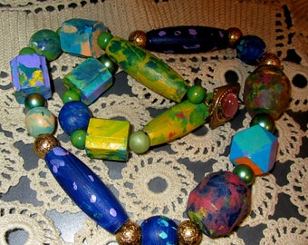 Vintage Hand Painted Gometric Carved Wooden Bead Necklace, Stunning