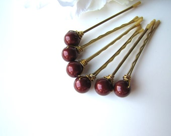 Oxblood Pearl Hair Pins, Deep Burgundy Red